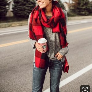 Buffalo plaid red and black blanket scarf